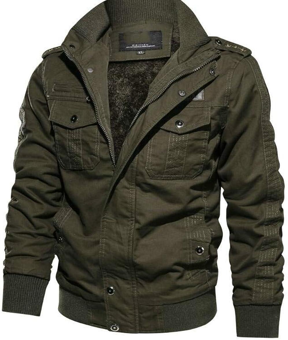 Men's Winter Jacket-Fleece Cotton Military Coat Thicken Casual Cargo Bomber Jacket