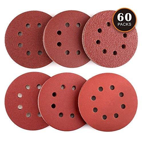 8 Loch Schleifscheiben, TACKLIFE 60 Stück Schleifpapier für 125mm-Randschleifmaschinen, Stärkeres E-Sandpapier für Holz, Metall und Farbe, 10 Stück Verschiedener 40/60/80/120/180/240 Kies - ASD03C