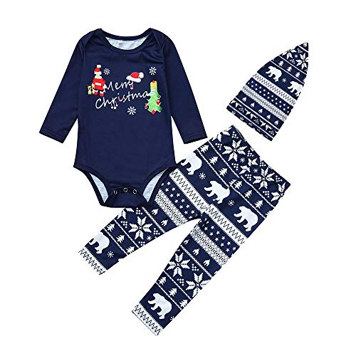 Hffan T-SW Hffan Damen Herren Baby Weihnachtspyjamas Eltern-Kind-Anzug Eltern-Kind-Schlafanzug Junge Mädchen Langarm Bequem Weich Pyjama Drucken Weihnachten Pyjamas(Blau,90)