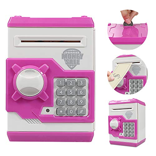 Brekya Mini ATM Piggy Bank Security Machine Best Gift for Kids,Electronic Code Piggy Bank Money Counter Safe Box Coin Bank for Boys Girls Password Lock (Pink)