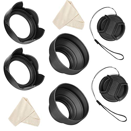 Veatree 55mm and 58mm Lens Hood Set Compatible with Nikon D3400 D3500 D5300 D5500 D5600 D7500 DSLR Camera with AF-P DX NIKKOR 18-55mm f/3.5-5.6G VR, AF-P DX NIKKOR 70-300mm f/4.5-6.3G ED Lenses