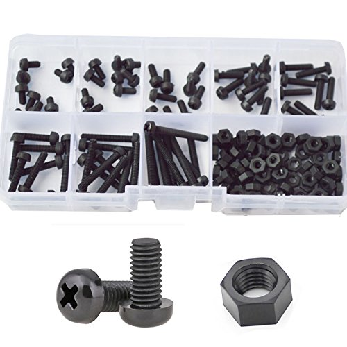 M3 Nylon Pan Round Head Machine Screw Metric Threaded Phillips Cross Recessed Plastic Bolt Nut Assortment Kit Set 5mm 6mm 8mm 10mm 12mm 15mm 20mm 25mm,160pcs Black