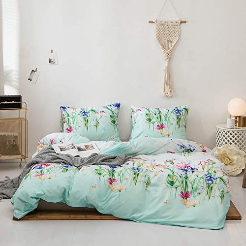 Argstar 2 Pcs Floral Duvet Covers Set Twin, Botanical Flower Bedding Set Covers, Colorful Morning Glory Pattern Comforter Cover, Soft Lightweight Microfiber, for Men Women Boys and Girls