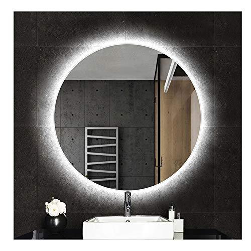 DELM Specchio retroilluminato per Bagno Specchio Illuminato a LED Specchio a Parete con Illuminazione Grande Specchio cosmetico Tondo 6000K Bianco Freddo / 2700K Caldo