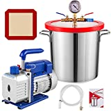 Bestauto Vacuum Pump 3 CFM Vacuum Chamber 3 Gallon Single Stage Vacuum Pump with Chamber Stainless Steel Degassing Chamber Kit