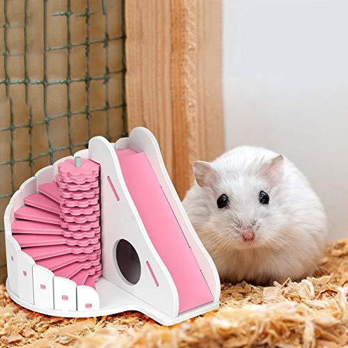 Cuque Tablero ecológico de Estructura Simple Casa para Dormir para hámster, Casa para Dormir Jaula para Mascotas con Tablero ecológico, Colorida con Deslizadores Redondos para el(Pink)