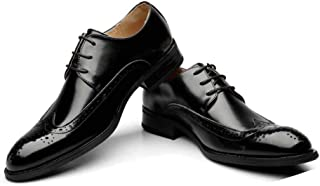 Men Pump Business Casual Leather Shoes Pointed Toe Lace Up Wedding Dress Shoes Bullock Carved Monk Shoes EU Size 38-43