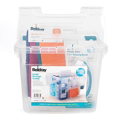 Beldray draagbare opbergdoos met deksel voor gereedschap, hobby, reinigingsmiddel, groot, transparant, LA036759EUN