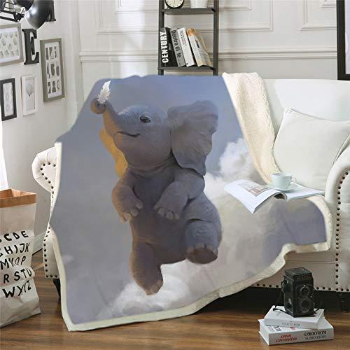 Hutuda - Coperta 3D stampata a forma di elefante, motivo animali, in flanella, per divano letto, soggiorno, camera da letto, bambino, 12,130 x 150 cm