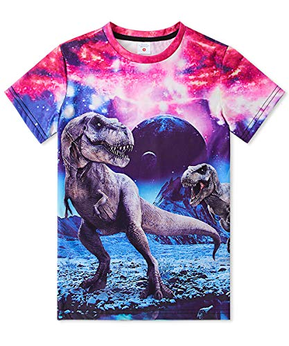 uideazone Summer T Shirt Boys Girls Dinosaur Printed Graphic Tees Cool Short Slevee Tops Shirts for Party Weekend 6-8 Years