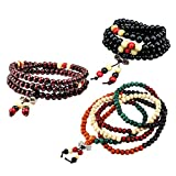 HEALLILY 3 unids 8 mm multicolor tibetano Buda Mala pulsera de cadena con cuentas Buda budista pulsera collar