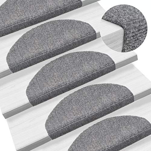 Festnight Set de 15 Marchettes Descalier Tapis descalier Auto-adhésif Surface Antidérapante Gris Clair 65 x 21 x 4 cm