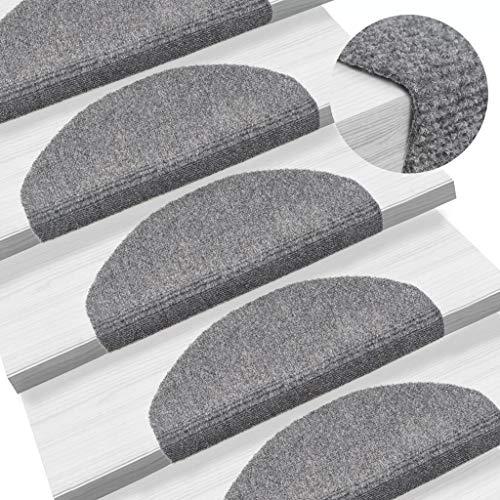 UnfadeMemory 15-TLG Selbstklebende Treppenmatten Nadelvlies Stufenmatten rutschfest Warm Treppen-Teppich Allzweck-Matte für Stufen, Sichere Treppenstufen (Hellgrau, 65x21x4cm)