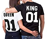 King Queen Couple T-Shirt Partner Look Couple Set Cadeau pour Cadeau d'anniversaire...