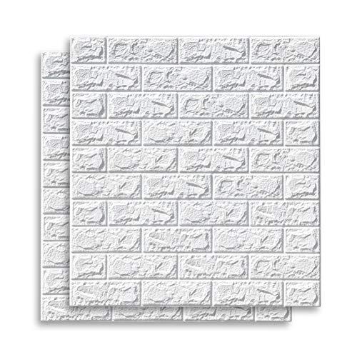 70 * 77 cm 3D Backsteinmuster Wandaufkleber Selbstklebende Tapete Schalldichte wasserdichte Hintergrundwanddekoration DIY Home Wandkunst Aufkleber für Wohnzimmer Schlafzimmer (2pcs)