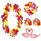 AirSMall Collar de Flores para Fiesta Hawaiana 4PCS Set Guirnalda Flamenco Fiesta Hawaianas Collares Pulseras para Fiesta Temática en la Playa Suministros Fotomatón en Hawái Fiesta Temática Cosplay