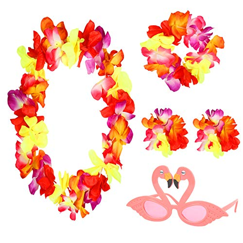 AirSMall 4 Teilig Hawaii Blumenketten Hula Stirnband Luau Armbänder Kopf Hawaiiketten Flamingo Sonnenbrille Party Favors Aloha Girlande für Beachparty Hawaiiparty Mottoparty Karneval Strandtanzparty
