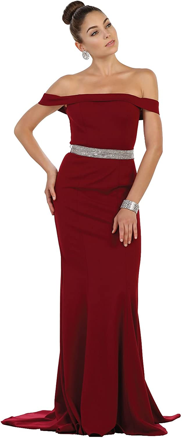 May Queen by Formal Dress Shops Inc FDS1545 Off The Shoulder Prom Evening Gown