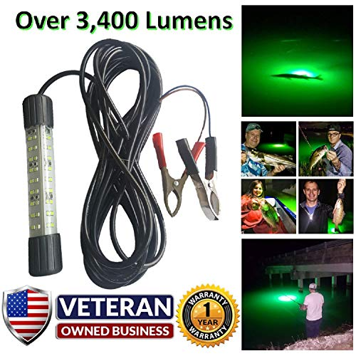 IllumiSea Ultra Bright 3450 Lumen Green 12v Mini BriteBite Underwater LED Fishing Light (Green - 1 Light)