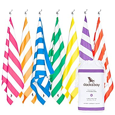 Dock & Bay Sand Free Beach Towel XL - Purple, Extra Large 78x35 - big beach blanket, striped towels for yoga and travel