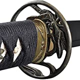 Handmade Sword - Fully Practical Samurai Katana Sword, Dragonfly Tsuba, 1080 Carbon Steel, Hand Forged Heat Tempered, Full Tang, Sharp, Certificate, Black Scabbard