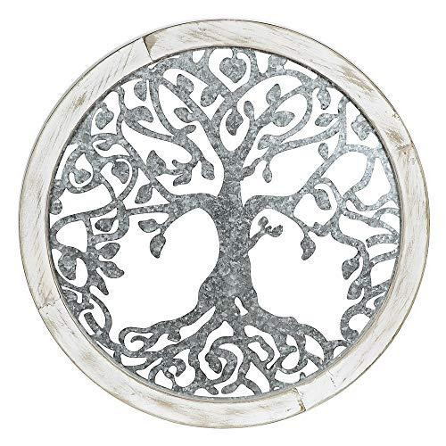 formano Wanddeko, Wandbild LEBENSBAUM rund D. 64cm Natur + Silber Holz