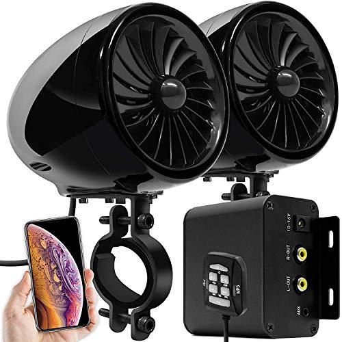 Aileap M150 Sistema de Audio con Amplificador de Moto con AUX, MP3, Radio FM, 4 Pulgadas de Altavoces estéreo Bluetooth Impermeables para Motocicletas ATV UTV RZR (Negro, Ventilador)