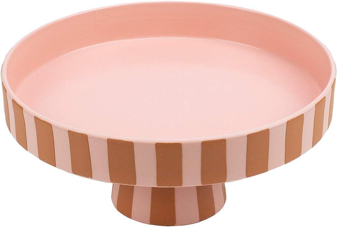 OYOY Living Toppu LITAB1101048-307 cer/ámica, 20 x 9 cm Cuenco decorativo redondo dise/ño de rayas color marr/ón y rosa