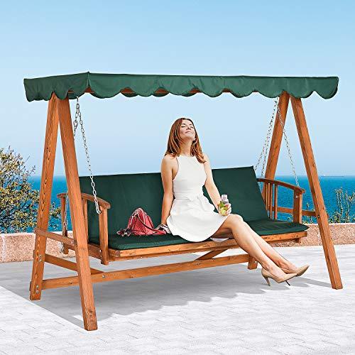 Outsunny® Hollywoodschaukel mit Sonnendach Echtholz-Gartenschaukel Schaukelbank Schaukel mit Liege-Funktion aus Lärchenholz für 3-4 Personen - 5