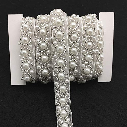 FQTANJU 3 Yards White Beaded Crystal Rhinestone Applique, Rhinetones Trim for Dress, Bridal Applique, Crystal Beaded Applique for Bridal Wedding, Party and Other Formal Occasions