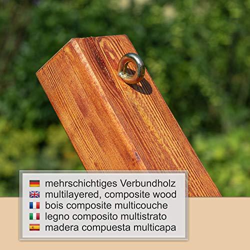 Ampel 24 Outdoor Hängematte mit Gestell Madagaskar 400 cm und Sicherung, Hängemattengestell Holz sibirische Lärche | Stabhängematte wollweiß Baumwolle - 3