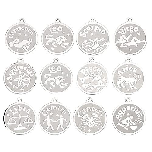 12 Uds colgantes del zodiaco, colgante de signo de constelación de acero inoxidable para collar de bricolaje, pulsera, joyería, accesorios para hacer artesanías