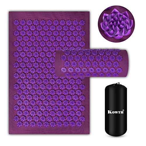 Acupressure Mat and Pillow Set Kowth® Wellness Therapy Acupuncture Mats and Pillow for Back/Neck Pain Relief and Muscle Relaxation Sciatic PainInsomnia Comes in a Carry Bag Purple