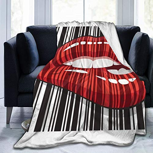 QUEMIN Flannel Fleece Throw Blanket,'Lips Barcode' Soft Cozy Microfiber Durable Couch Blankets Home Decor Perfect for Bed and Sofa Blankets for All Season,(80'x 60')