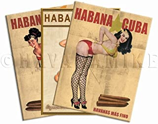 Gallery Prints Set of Three (3) Cuban Cigar Pinup Girl Mini Poster Tool Box Magnets - Measures 3