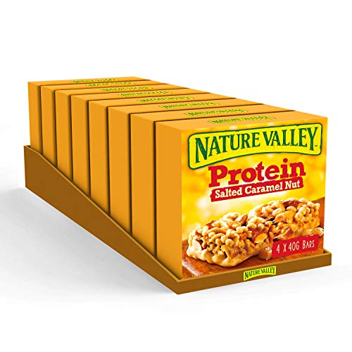 Nature Valley Protein Salted Caramel Nut Gluten Free Cereal Bars 4 x 40g (Pack of 8, total 32 Bars)
