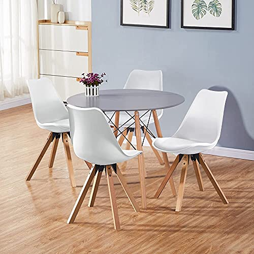 GOLDFAN Dining Table and Chairs Set 4 Modern Round Kitchen Table and 4 Chairs High Gloss Dining Table Set,80cm/Grey