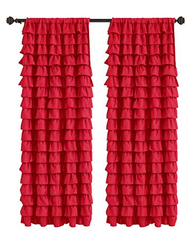 Watterfall Ruffled Fabric Window Curtain (Red)