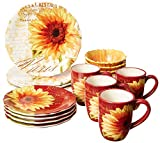 Certified International Paris Sunflower Ceramic Dinnerwae, Mulitcolored