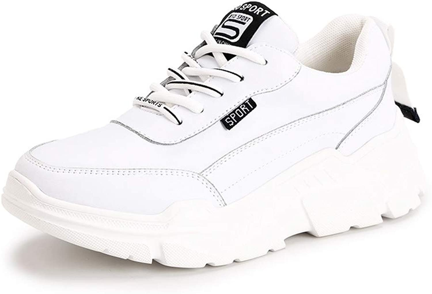 Women's Sneakers Leather Running shoes Low-Top Casual shoes Fashion Deck shoes Athletic shoes Fitness & Cross Training shoes,White,36