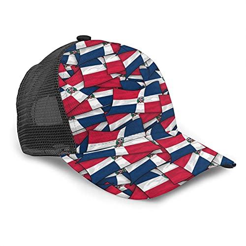 Oaieltj Gorra de béisbol unisex para mujer y hombre, gorra de béisbol ajustable de malla Snapback sombrero de camionero sombrero de sol, Bandera de República Dominicana., Talla única