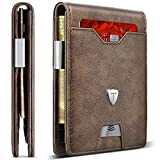TEEHON Leather Slim Wallet for Men Money Clip RFID Blocking Bifold Minimalist Wallet 10 Credit Card Holders 1 ID Window Front Pocket Wallet with Gift Box for Father Husband Brother-New