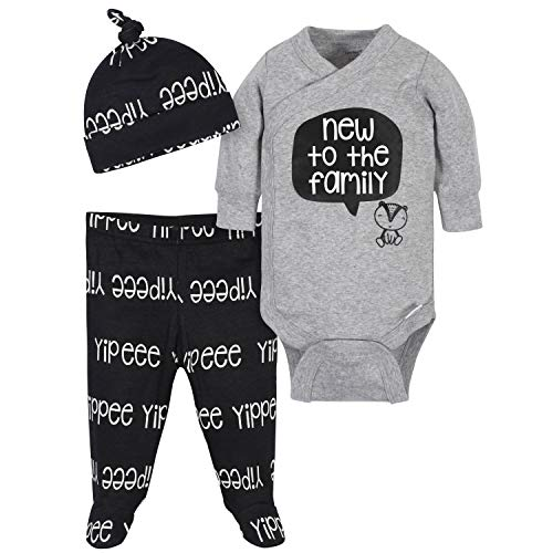 Grow by Gerber Baby Boys Organic 3-Piece Onesies Bodysuit, Footed Pant, and Cap Set, Grey/Black/White, 0-3 Months