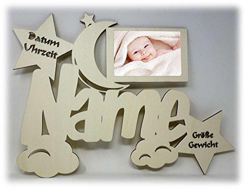 Baby Bilderrahmen 10x15 Individuell mit Namen Geburtsdaten Personalisiert als Geschenk I Optional mit Farbe
