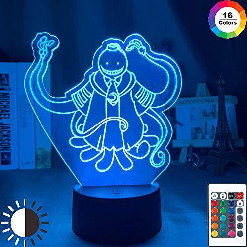 Lámpara de ilusión 3D Led Night Light Assassination Classroom Korosensei Figure Boy para la decoración del dormitorio Anime Gift For Kid Koro Sensei