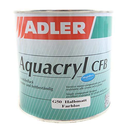 Aqua-Cryl CFB G50 750ml Halbmatt Farblos Wasserbasierter, sehr beständiger, farbloser Holzlack - Klarlack für Holz im Innenbereich