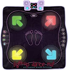 Kidzlane Dance Mat – Dance Game for Kids Boys & Girls – Light Up Dance Pad with Built in or External AUX/Bluetooth Music – Dancing Mat with Multi-Function Games and Levels