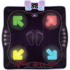 LIGHT UP DANCE MAT 💃 Step, hop and jump onto the blinking arrows in this addictive new dance game! Follow the beat of its' built-in music, or connect your own fave track via AUX or BLUETOOTH. A well- padded dance surface & large light-up arrows make ...