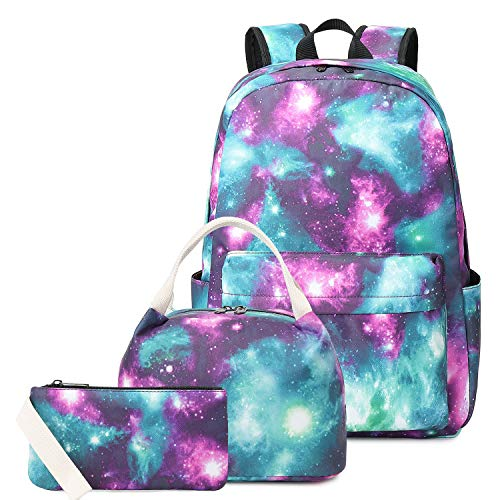 """Waterproof Galaxy Canvas Backpack Set for College Girls Women Fits 14"""" Laptop Backpack Daypack School Bookbag with Lunch Box and Pencil Case"""