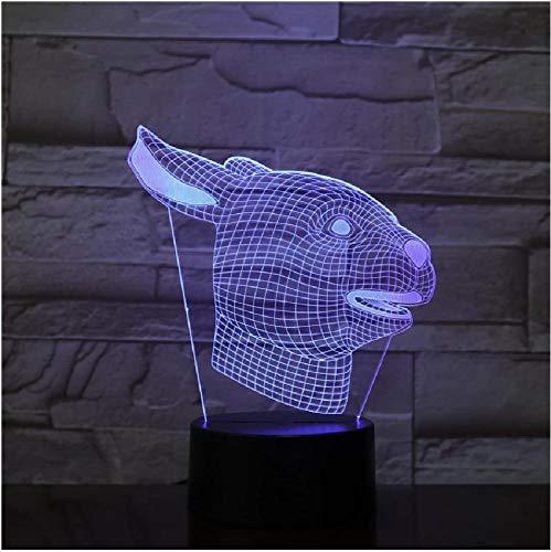 Lámpara LED 3D ilusión de perro, luz nocturna, Cable Usb visual, mesa de escritorio para dormitorio, decoración del hogar, creativa para niños, regalo de Navidad